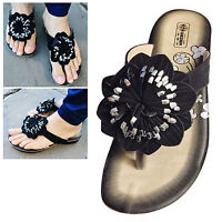 Womens Ladies Flat Flip Flop Summer Sandals Thong Holiday Beach Shoes Size 3-8