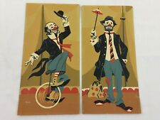 "VTG Unframed Pair Paint By Number Circus Clowns 6"" Wide X 12"" Tall Mid Century"