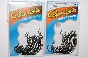 2 packs gamakatsu 3/0 offset ewg shank worm tube senko hook value pack 58413-25