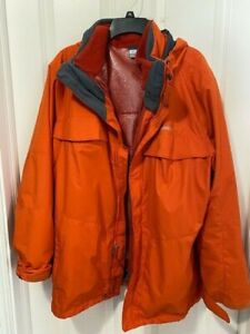 COLUMBIA Mens Size L Large Interchange Omni-tech 3 In 1 Ski Jacket Coat Orange
