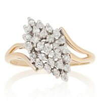 .30ctw Single Cut Diamond Waterfall Ring - 14k Yellow Gold Tiered Cluster Bypass
