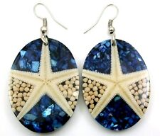 "Handmade 2.2"" Oval Mosaic Seashell Coral & Starfish Dangle earrings: DA337"