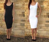 X LONG Tall Midi Vest Dress Cotton Stretch Knee Summer  8 10 12 14 16 18 20 22