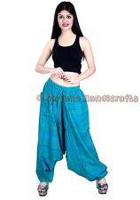 Women Turquoise Cotton Striped Harem Pants Men Trouser Dance Yoga Genie Hippie
