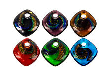 Feature Glass Foil/Dichroic Pendant Beads-6cols-30mm-FREE POSTAGE