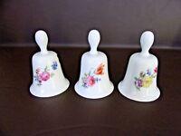 Vintage Set of Three Porcelain Bells Golden Crown West Germany (Cat.#8T046)