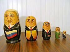 "Vintage RUSSIAN PRESIDENTS Nesting Matryoshka 5 Dolls 7"" Tall"