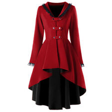 Lace Trimmed Gothic Women Lace Up Coat Red Black Cosplay Steampunk Witch Jacket