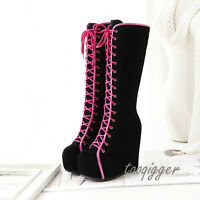Gothic Womens Wedge Hidden Heel Knee High Boots Lace-up Platform Halloween Gift