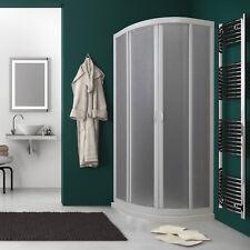 Box doccia semicircolare 80x80 cm pannello acrilico ante piumate scorrevoli PVC