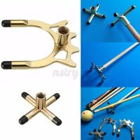 Combo Metal Pool Snooker Billiards Table Cue Brass Cross and Spider Holder Stand
