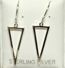 Sterling Silver triangle drop ear wire .925