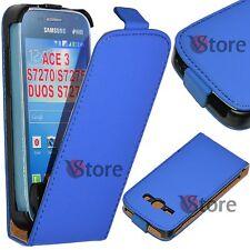 Étui Flip pour Samsung Galaxy Ace 3 S7270 S7275 S7272 Duos Cuir Écologique Bleu