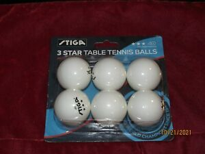 NEW in Package Stiga 3 Star White Ping Pong Table Tennis Balls 6 Pack Premium