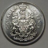 Awesome Flashy Prooflike 1961 Canada Silver Half Dollar Grading Gem BU From Roll