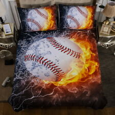 Baseball with Flame Bedding Set Quilt/Duvet/Doona Cover Pillow Cases 3PCS