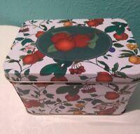 Vintage Tin Recipe Box fruit & flowers 70 Retro Look W/ Dividers Cards and bonus