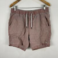Industrie Mens Linen Shorts Large Faded Red Elastic Waist Drawstring Pockets
