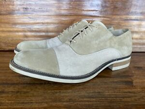 Mens Donald Pliner Lace Up Shoes Beige Suede And Linen Size 12 Made In Italy
