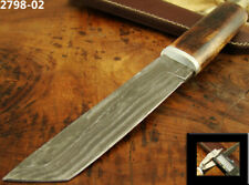 "10.5"" HANDMADE DAMASCUS STEEL TACTICAL FIXED BLADE TANTO KNIFE TOP! (2798-2"