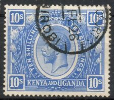 Kenya & Uganda 1922-27 KGV 10 shillings bright blue used stamp VFU