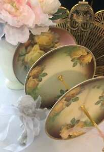 Vintage Rose Signed Handpainted Collectible Plate Bavaria Limoges Shabby