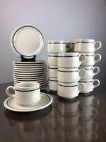 """Vintage Restaurant Ware Shenango RimRol WelRoc Brown Teal Diner Mug & 6.5"""" Plate"""