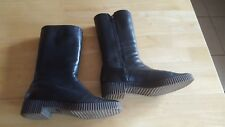 Women's BALLY Black Leather Fur Lined Mid Calf Boots. UK Size 6