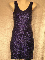 Sequin Night Clubwear Shift 1960's Style Cocktail Sleeveless Dresses Small 8-10