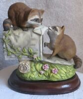 Vintage Masterpiece Porcelain by Homco Raccoons at Mailbox Figurine 1987