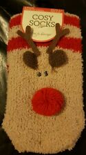 NEW WOMENS  COSY REINDEER XMAS SOCKS  SIZE 4-8