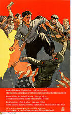 Political OSPAAAL POSTER.NORTH KOREA kick ARMY SOLDIER 22.Revolution Art Design