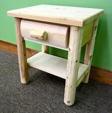 Premium Log Nightstand w/Shelf - $189