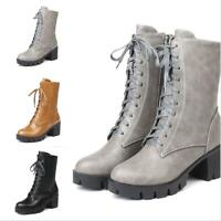 Punk Ladies Round Toe Block Med Heel Lace Up Mid Calf Boots Riding Combat Shoes