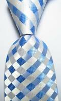 New Classic Checks Light Blue White JACQUARD WOVEN 100% Silk Men's Tie Necktie