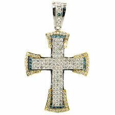 Pendant 14K White Gold 7.85 CT Diamond & Sapphire GVS1 Cross Style 32.7 Grams