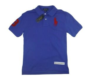 Polo Ralph Lauren Boy's Cotton Mesh Polo  Blue /Red Big Kid Size  Medium (10-12)