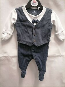 Baby boys next Newborn smart suit babygrow party wear long sleeve suit