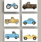 TRUCK CARS ART PRINTS FOR BABY BOY NURSERY BEDDING YELLOW BLUE