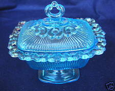 Vintage Indiana 1958 Glass Lace Edge Candy Box Blue Footed With Lid  7.25""