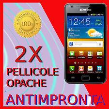 2 Pellicola Per Samsung I9100 Galaxy SII Opaca Antimpronta Protezione Pellicole