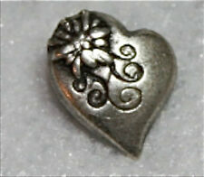 "3/4"" Alpine Heart Shaped Antique Silver Metal Shank Style Buttons - Set of 3"