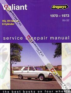 GREGORYS WORKSHOP REPAIR MANUAL VALIANT VG VH 1970-1973