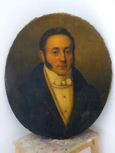 1810 French Oil Painting Gentleman 18TH Portrait EMPIRE RENAISSANCE - Tableau