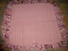 """Crocheted Doll/Baby Blanket Afghan, Pink with Fringe 100% Acrylic 25 x 25"""""""