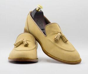 Handmade Men's Beige Tussle Suede Loafer Shoes, Mens Fashion Dress Loafer Shoes