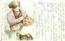 Vintage Postcard Dressed Dog Barber Cuts terrier's Hair very cute