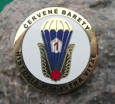 Czech Parachute Regiment Army Red Berets Wings Historia Magistra Vitae Pin Badge