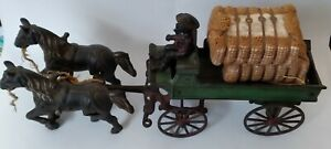 1920 KENTON HUBLEY ARCADE CAST IRON HORSE DRAWN EXPRESS WAGON COTTON DRIVER TEAM