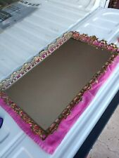 New listing Vintage Mid Century Brass Frame Vanity Mirror Tray Dresser Top